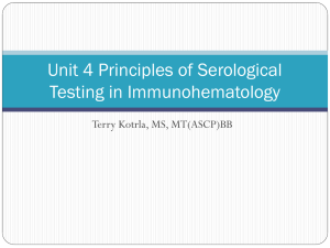 Unit 4 Principles of Serological Testing in Immunohematology Terry Kotrla, MS, MT(ASCP)BB