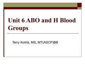 Unit 6 ABO and H Blood Groups Terry Kotrla, MS, MT(ASCP)BB
