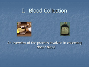 I.  Blood Collection donor blood