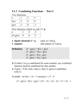 5.1.1  Combining Functions  -  Part I