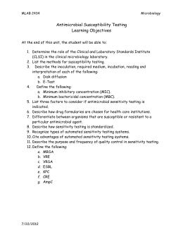 Antimicrobial Susceptibility Testing Learning Objectives  :