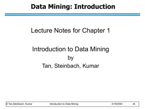 Data Mining: Introduction Lecture Notes for Chapter 1 Introduction to Data Mining by