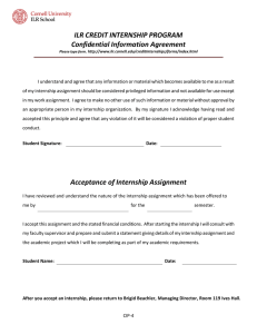 ILR CREDIT INTERNSHIP PROGRAM Confidential Information Agreement