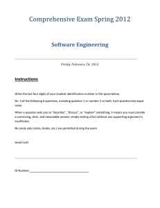 Comprehensive Exam Spring 2012 Software Engineering Instructions