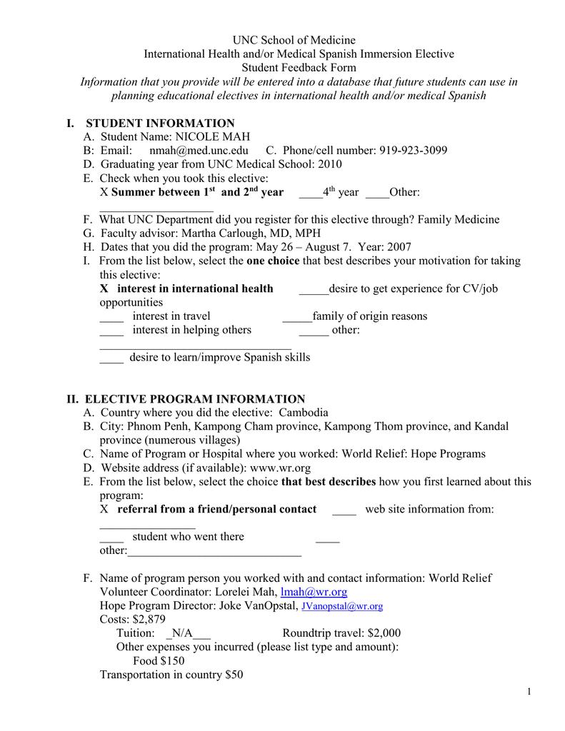 UNC School of Medicine International Health and/or Medical
