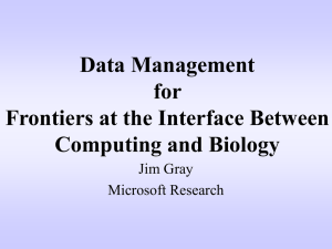 Data Management for Frontiers at the Interface Between Computing and Biology