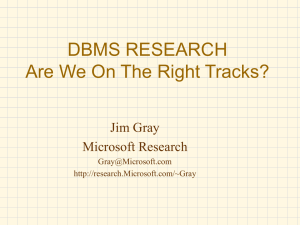 DBMS RESEARCH Are We On The Right Tracks? Jim Gray Microsoft Research