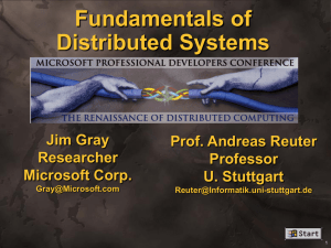 Fundamentals of Distributed Systems Jim Gray Prof. Andreas Reuter