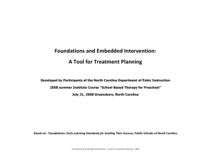 Foundations and Embedded Intervention: A Tool for Treatment Planning