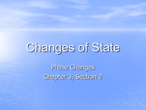 Changes of State Phase Changes Chapter 3, Section 2