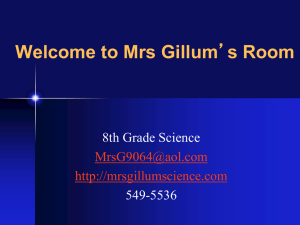 Welcome to Mrs Gillum 8th Grade Science 549-5536