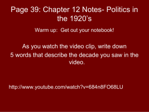 Page 39: Chapter 12 Notes- Politics in the 1920's