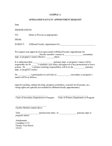 SAMPLE A  AFFILIATED FACULTY APPOINTMENT REQUEST Date