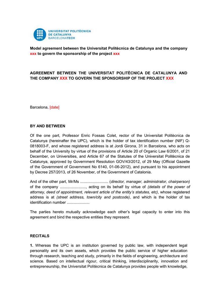 Model Agreement Between The Universitat Politcnica De Catalunya And