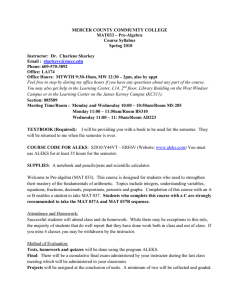 MERCER COUNTY COMMUNITY COLLEGE MAT033 – Pre-Algebra Course Syllabus Spring 2010