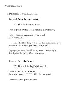 Properties of Logs  1. Definition Solve for an exponent