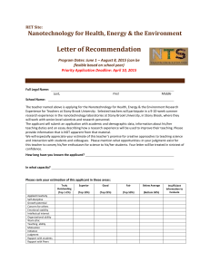 Letter of Recommendation Nanotechnology for Health, Energy & the Environment RET Site: