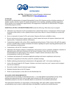 Job Description  Distinguished Lecturer/Programs Administrator