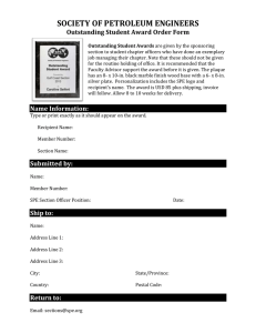 SOCIETY OF PETROLEUM ENGINEERS Outstanding Student Award Order Form