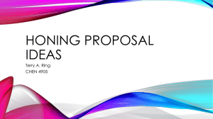 HONING PROPOSAL IDEAS Terry A. Ring CHEN 4905