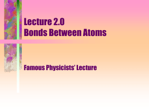 Lecture 2.0 Bonds Between Atoms Famous Physicists' Lecture