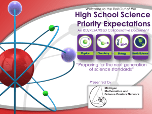 "High School Science Priority Expectations ""Preparing for the next generation of science standards"""