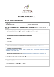 PROJECT PROPOSAL  PART I - GENERAL INFORMATION