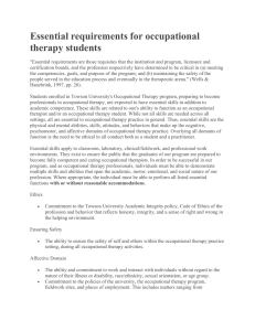 Essential requirements for occupational therapy students