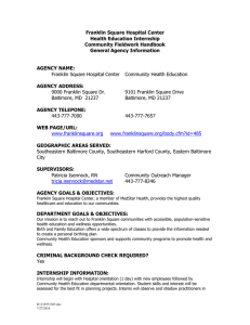 Franklin Square Hospital Center Health Education Internship Community Fieldwork Handbook General Agency Information