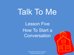 Talk To Me Lesson Five How To Start a Conversation