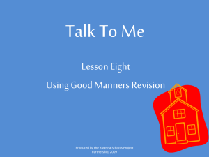 Talk To Me Lesson Eight Using Good Manners Revision