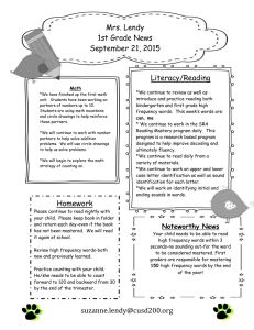 Mrs. Lendy 1st Grade News September 21, 2015 Literacy/Reading