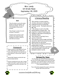 Mrs. Lendy 1st Grade News September 28, 2015 Literacy/Reading