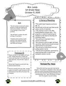 Mrs. Lendy 1st Grade News October 5, 2015 Literacy/Reading