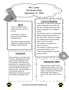Mrs. Lendy 2nd Grade News September 21, 2015 Literacy/Reading