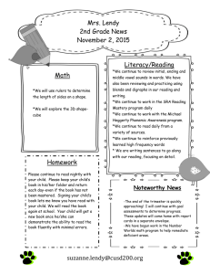 Mrs. Lendy 2nd Grade News November 2, 2015 Literacy/Reading