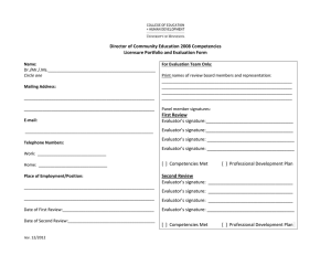 Director of Community Education 2008 Competencies Licensure Portfolio and Evaluation Form