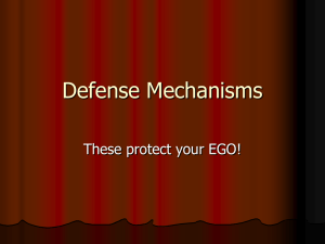 Defense Mechanisms These protect your EGO!