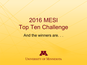 2016 MESI Top Ten Challenge And the winners are. . .