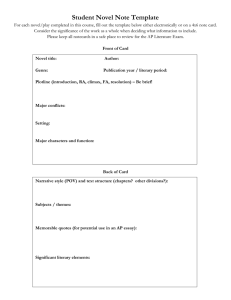 Student Novel Note Template