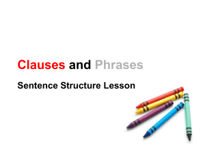 Clauses and Phrases Sentence Structure Lesson