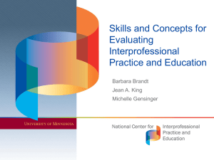 Skills and Concepts for Evaluating Interprofessional Practice and Education