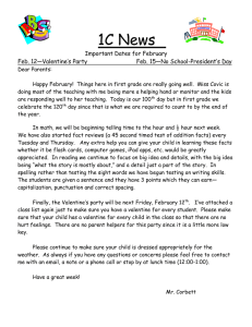 1C News  Important Dates for February Feb. 12—Valentine's Party