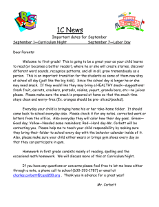 1C News Important dates for September September 1—Curriculum Night