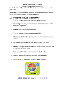 Health and Physical Education Grade 3 Study Guide for Nutrition healthy diet.