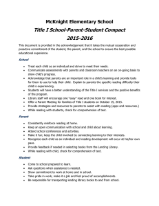 Title I School-Parent-Student Compact 2015-2016 McKnight Elementary School