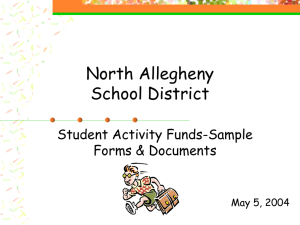 North Allegheny School District Student Activity Funds-Sample Forms & Documents