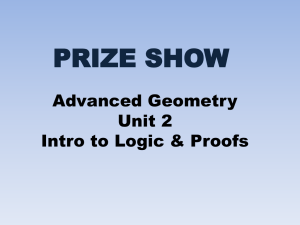 PRIZE SHOW Advanced Geometry Unit 2 Intro to Logic & Proofs