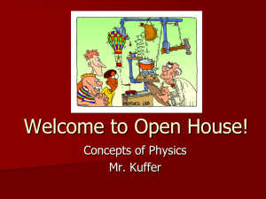 Welcome to Open House! Concepts of Physics Mr. Kuffer