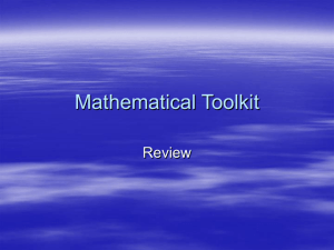 Mathematical Toolkit Review